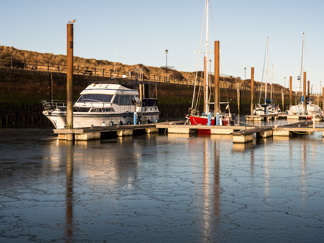 Photo of Ravensdale reflected in the ice at Maryport Marina