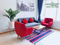 Thuê chung cư Saigon Pearl 2 phòng ngủ - sofa và thảm ở phòng khách