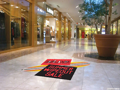 creative epoxy painted-3D floor graphics at mall entrance