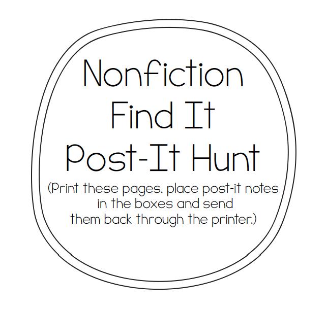 A Place Called Kindergarten: nonfiction find it activity