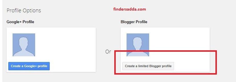 click on create a limite blogger profile