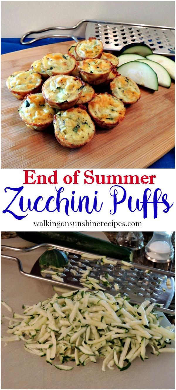 An easy recipe for Zucchini Puffs from Walking on Sunshine Recipes.