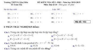 Đề thi toán Lớp 10 - Tài liệu Toán lớp 10 Miễn phí