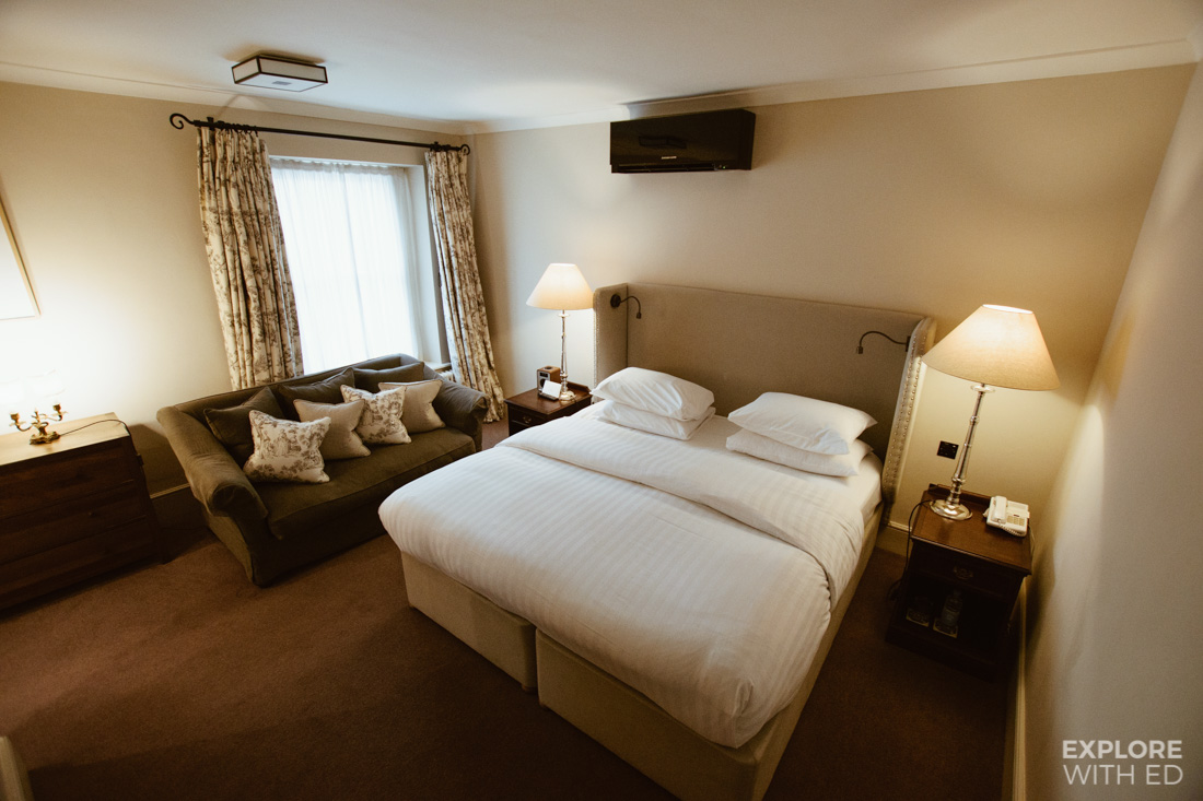 Room 29 inside the Angel Hotel in Abergavenny, large double bed