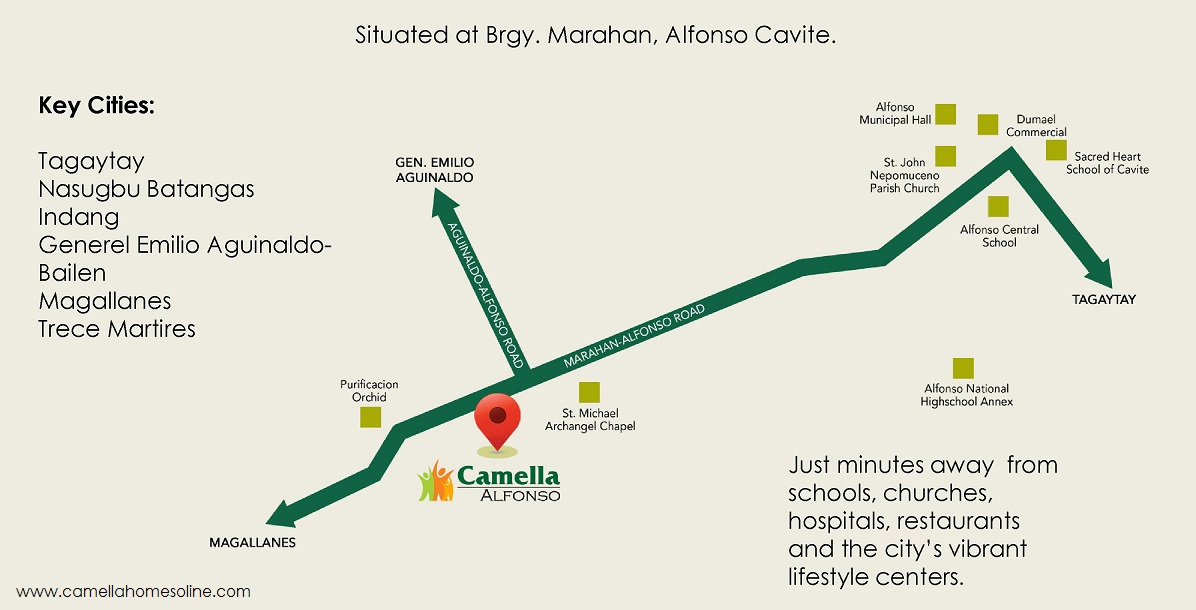Vicinity Map Location Mika - Camella Alfonso | Crown Asia Prime House for Sale Alfonso Tagaytay Cavite