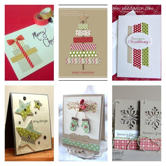 6 tarjetas navideñas con washi-tape