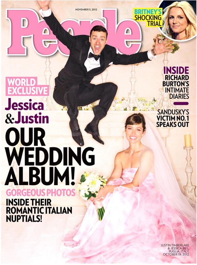 Justin Timberlake Jessica Biel wedding pink gown