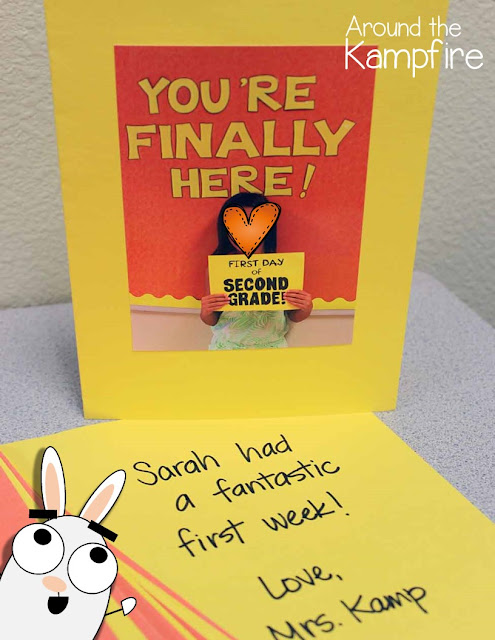 First day of school keepsake cards and activities for You're Finally Here! bFy Melanie Watt