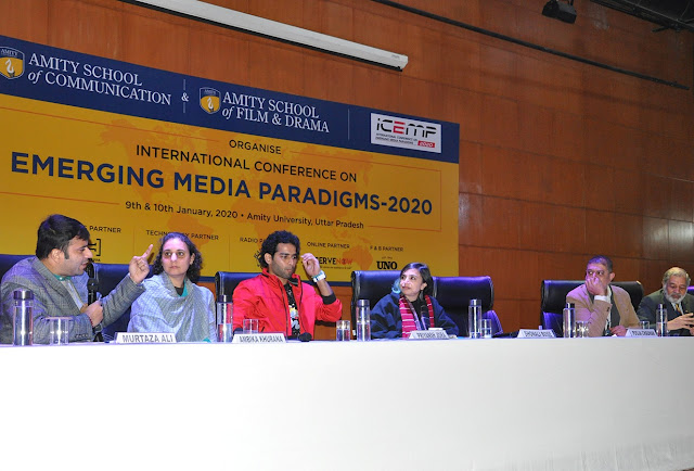Film Critic Murtaza Ali Khan participating in International Conference on Emerging Media Trends - 2020 alongside director Shonali Bose and Ambika Khurana, Director, Public Policy, Netflix at Amity University
