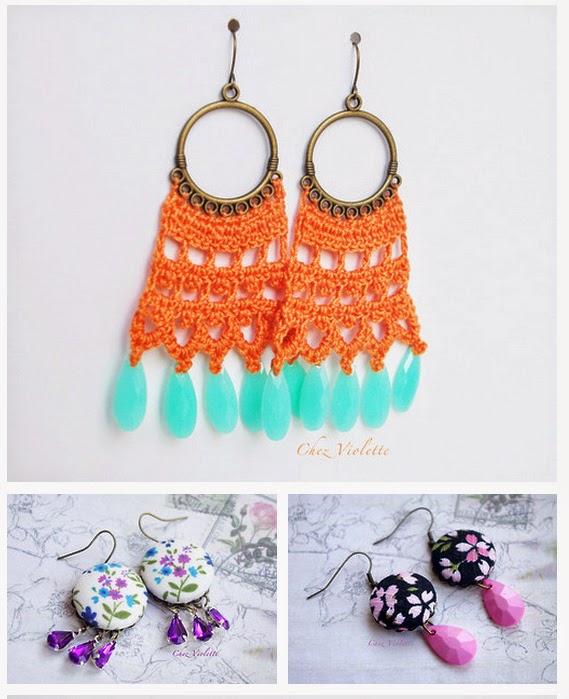 boucles d'oreilles pendantes au crochet - chezviolette.alittlemarket.com