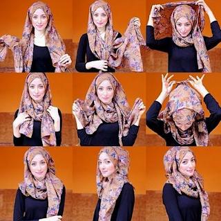 Cara Mudah Memakai Jilbab Segi Empat Bermotif