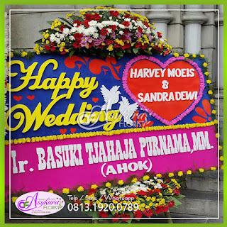 Toko bunga papan happy wedding pernikahan