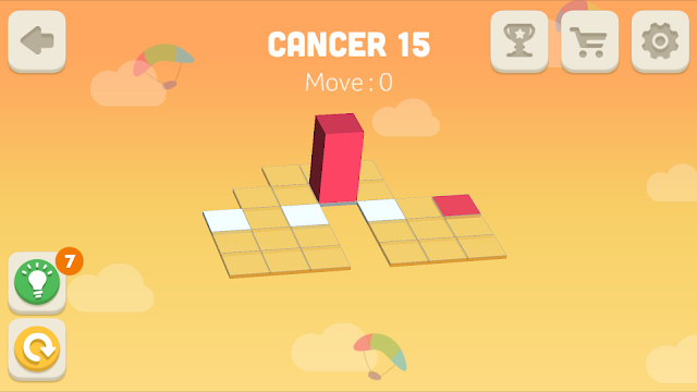 Bloxorz Cancer Level 15 step by step 3 stars Walkthrough, Cheats, Solution for android, iphone, ipad and ipod