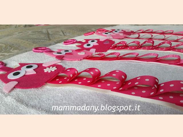 Porta cerchietti gufetto in feltro e raso fucsia e rosa