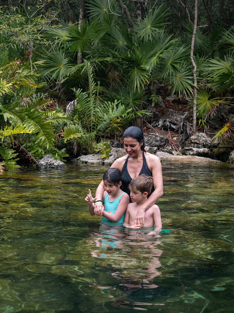 Mujer y dos niños medio sumergidos en un cenote abierto rodeados de vegetación