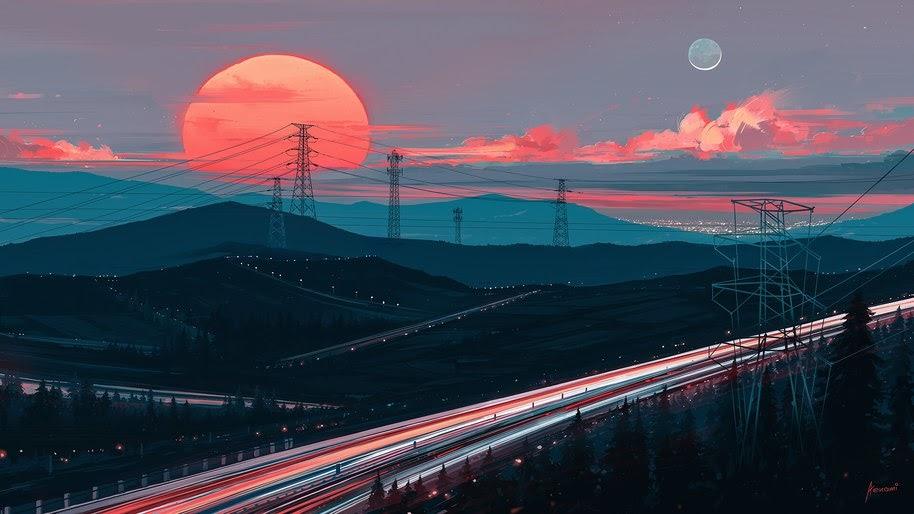 Sunset, Digital Art, Scenery, 4K, #105