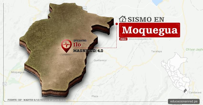 Temblor en Moquegua de magnitud 4.0 (Hoy Martes 9 Octubre 2018) Sismo EPICENTRO Ilo - IGP - www.igp.gob.pe