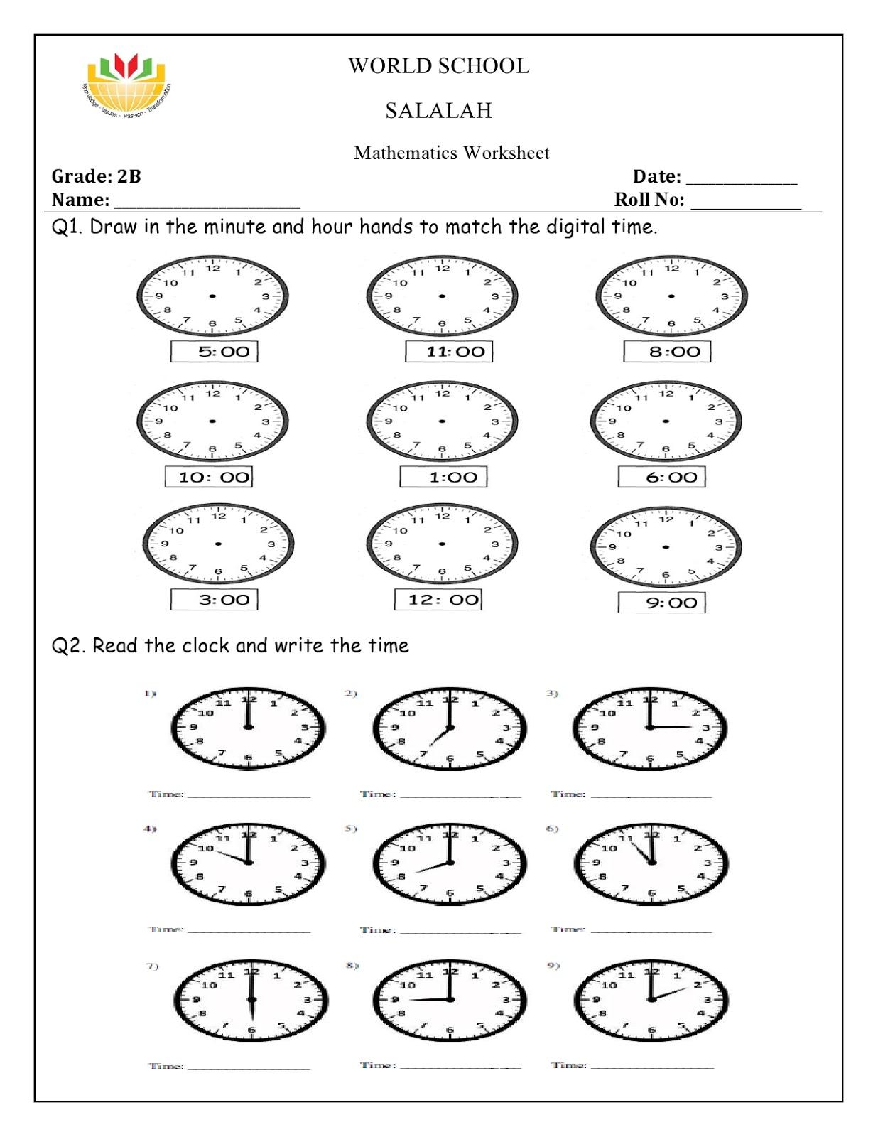 Birla World School Oman Homework For Grade 2 As On 25 02