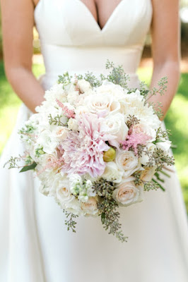 bridal gown and pink bouquet