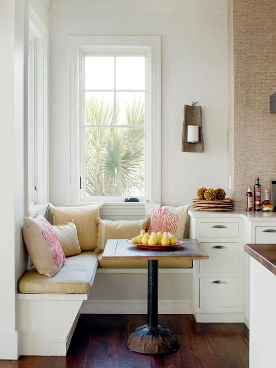 breakfast nook kitchen sunny corner dining compact reclaimed table set diy make over ideas inspiration decor french chic