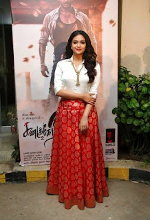 Keerthy Suresh in White Dress with Cute Smile at Pandem Kodi 2 Promotions
