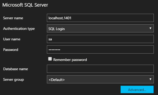 sqlops Login mssql-server-linux