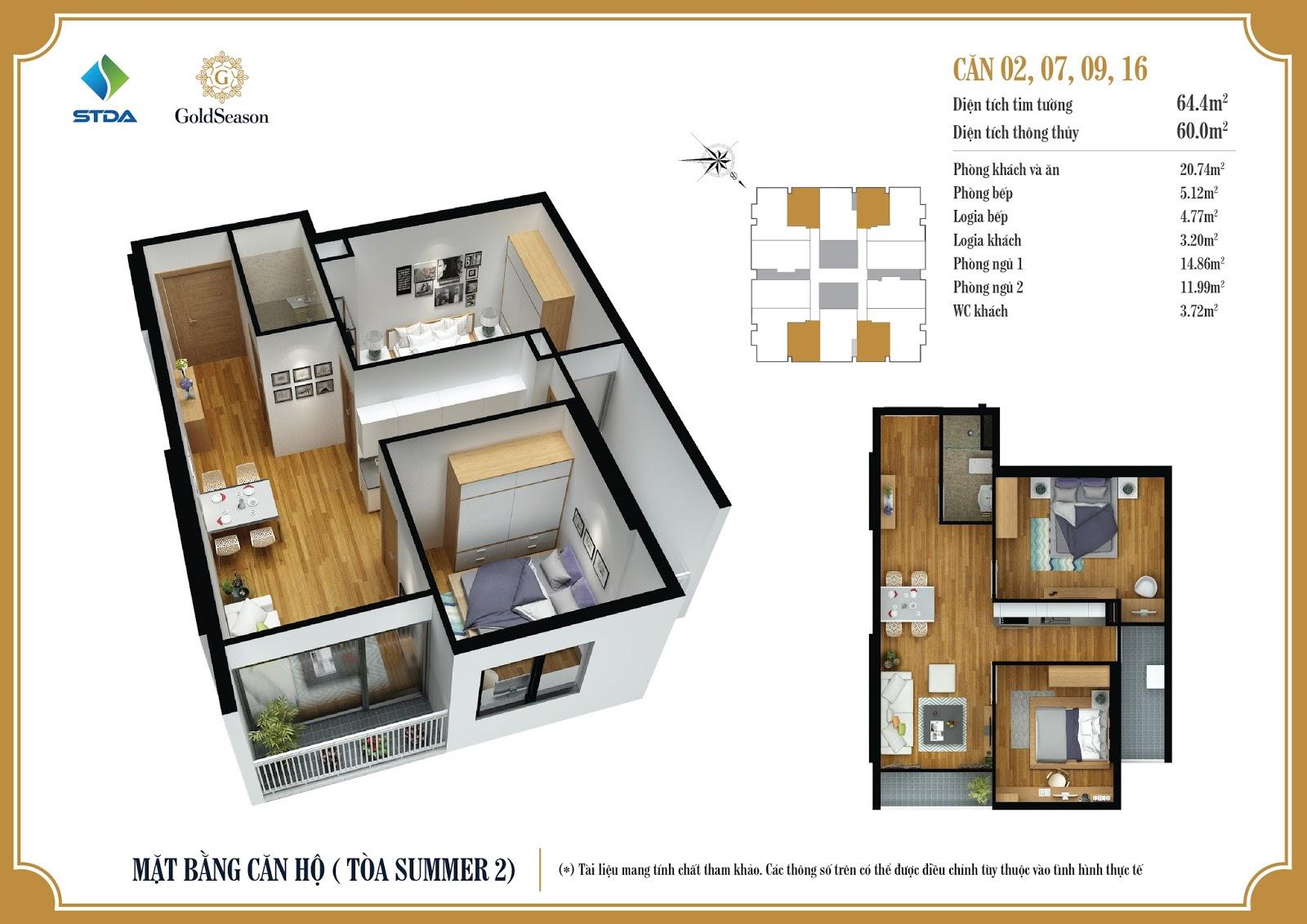Mặt bằng căn hộ 02, 07, 09, 16 - 64,4m2 - GoldSeason