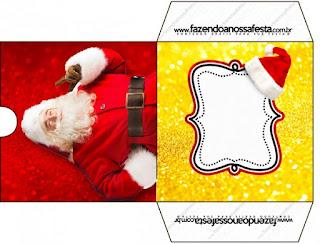 Funda CD´s para Imprimir Gratis de Santa Claus en Rojo y Dorado.