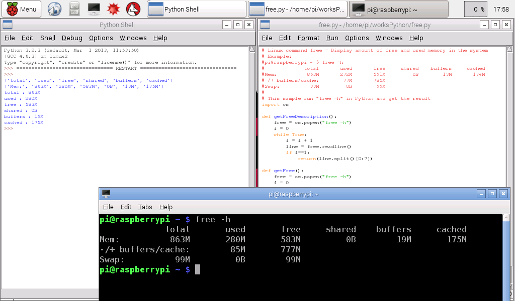 Hello Raspberry Pi: Python display memory usage on Raspberry Pi/Linux