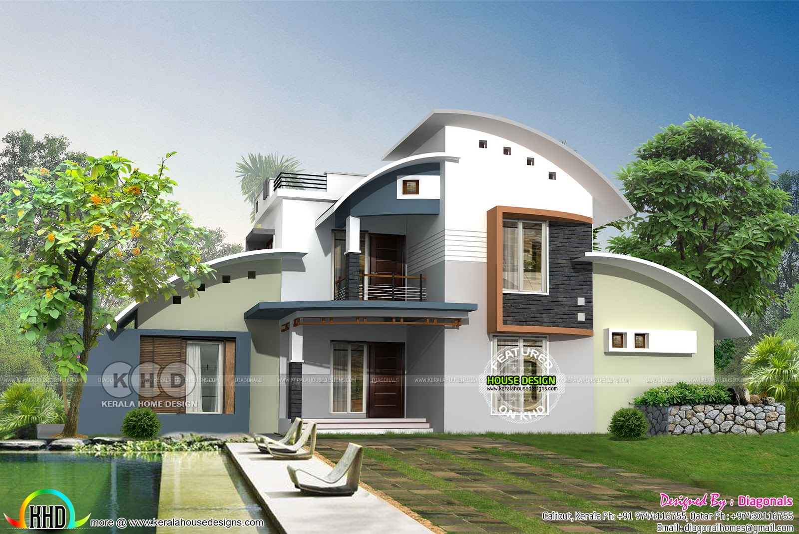 Modern curved roof house in 2622 sq ft kerala home for Curved roof house plans
