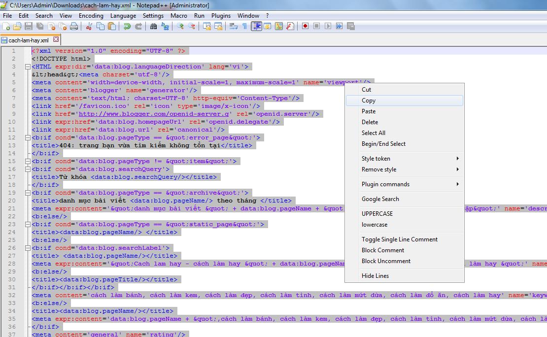 Mẹo upload template Blogspot giống bản demo gốc