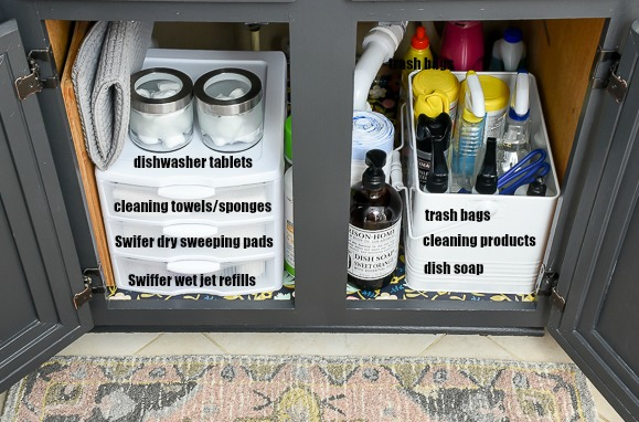 5 steps to an organized under the kitchen sink cabinet