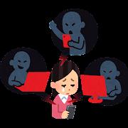 ネットの誹謗中傷のイラスト(女性)