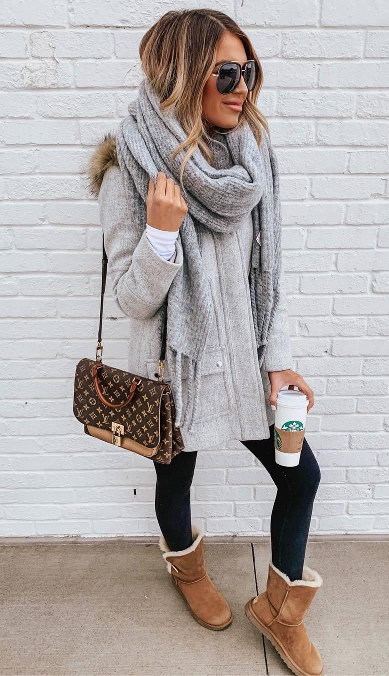 comfy outfit / grey scarf + coat + boots + black leggings + bag