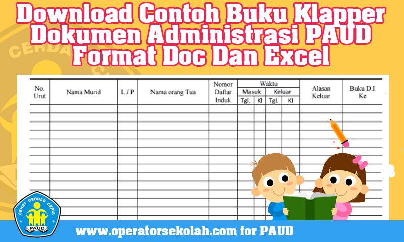 Download Contoh Buku Klapper Dokumen Administrasi PAUD Format Doc Dan Excel