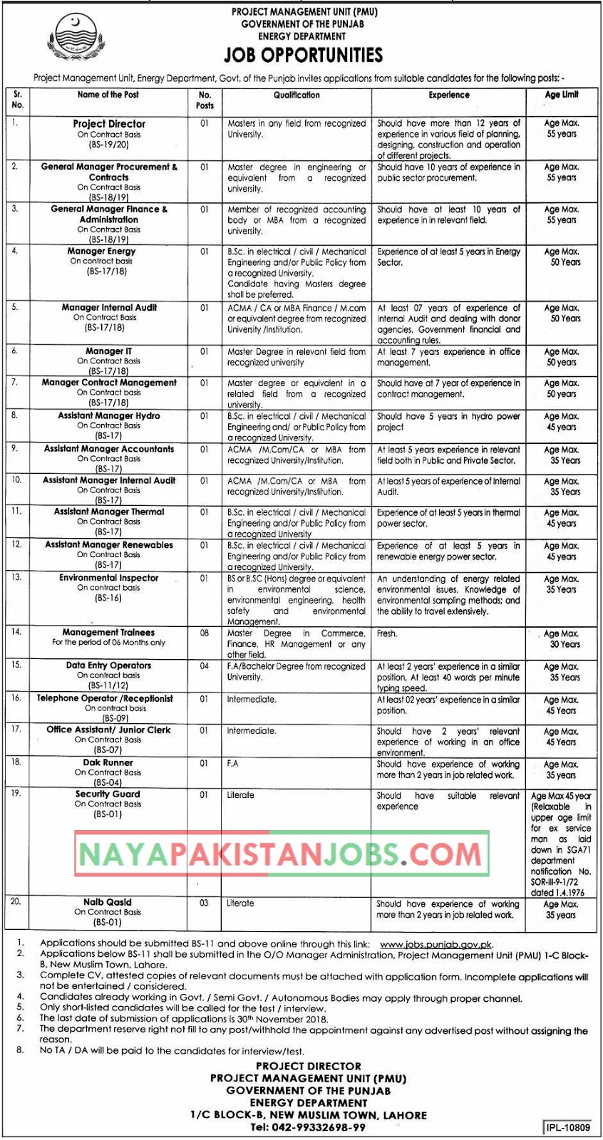 Latest Vacancies Announced in Energy Department Govt Of The Punjab 14 November 2018 - Naya Pakistan