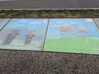 sidewalk chalk art at the Town Common