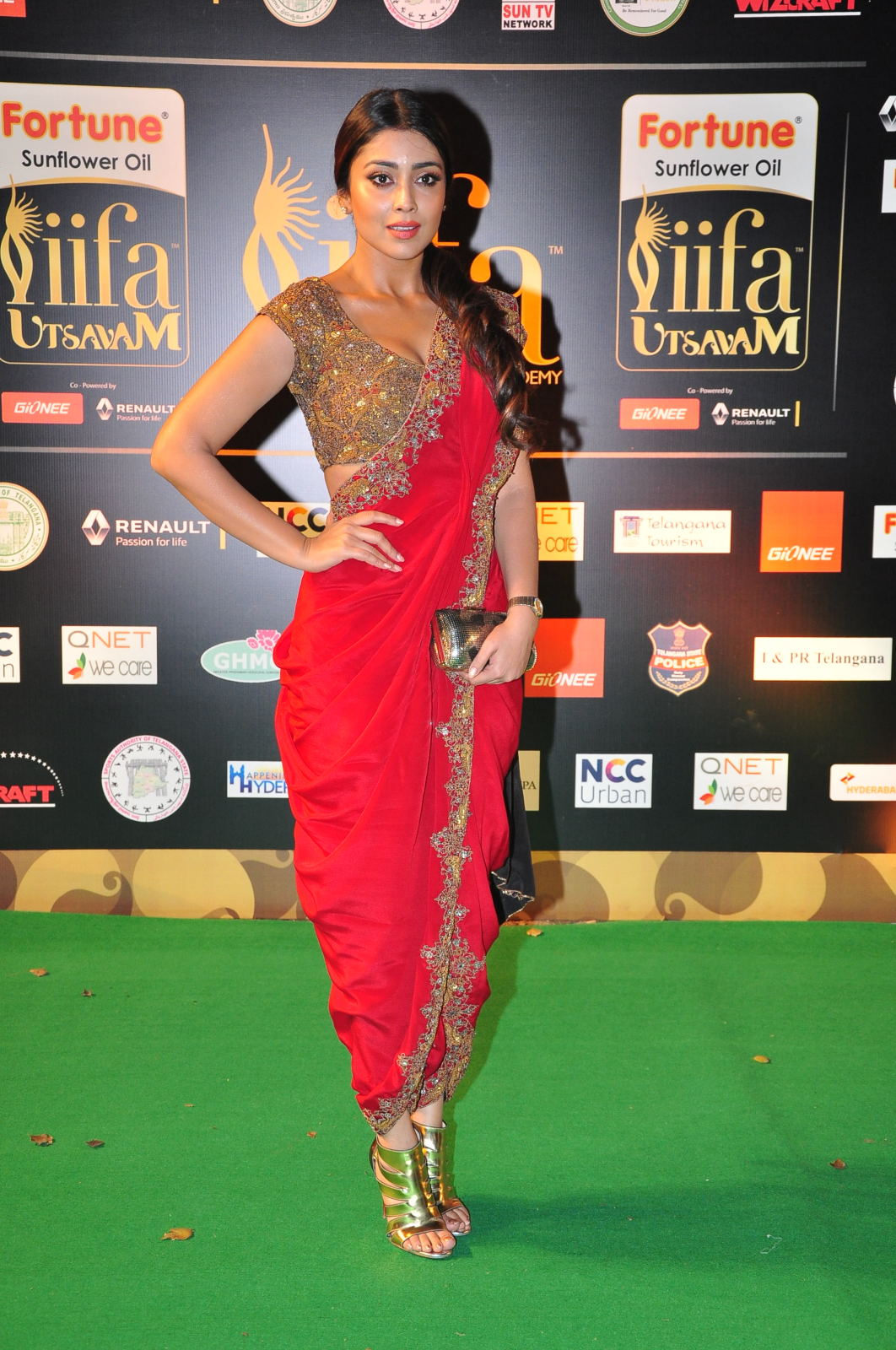Shriya Saran Latest Photos at IIFA Utsavam Awards In Red Saree