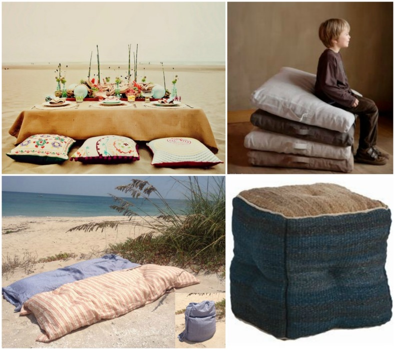 Coastal outdoor picnic seating and floor pillows