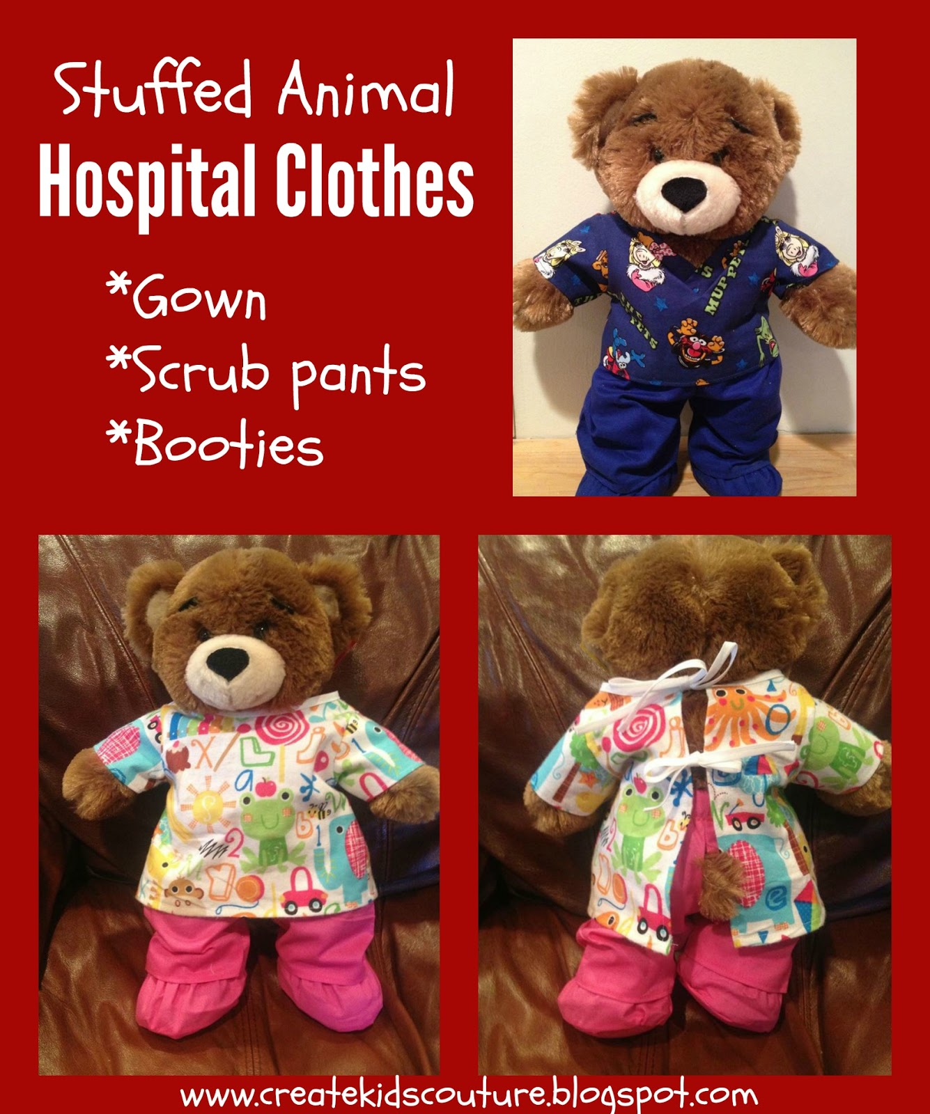 Create Kids Couture: 12th Day of Christmas: Bear Hospital Gown and ...