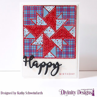 Divinity Designs Stamp/Die Duo: Happy, Custom Dies: Quilted Triangles, Pierced Rectangles, Paper Collection: Old Glory