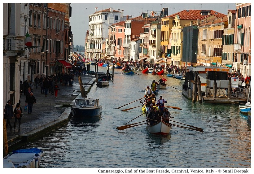 End of the parade in Cannareggio, Boat Parade, Carnival, Venice, Italy - © Sunil Deepak
