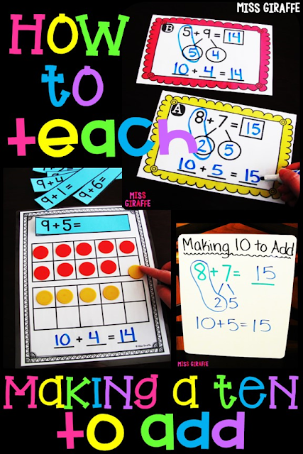 Have to teach the make a ten addition strategy? Easy step by step instructions for how to make this math concept fun with games and math centers and worksheets kids enjoy and actually understand! Save this post - it is super helpful!