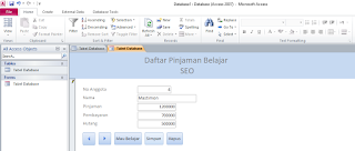 tampilan form view aplikasi sederhana ms access 2010
