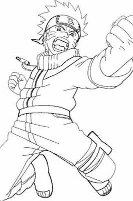 Lembar Mewarnai Naruto Uzumaki loncat pose