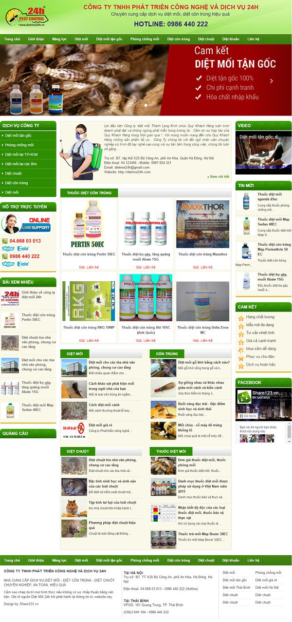 demo template blogspot giới thiệu dịch vụ công ty diệt mối