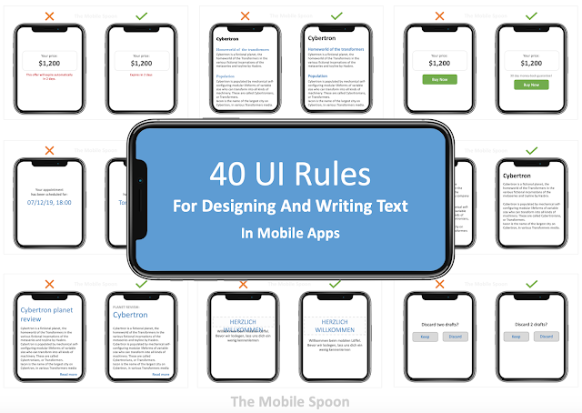 40 UI rules for designing and writing text in mobile apps - the mobile spoon