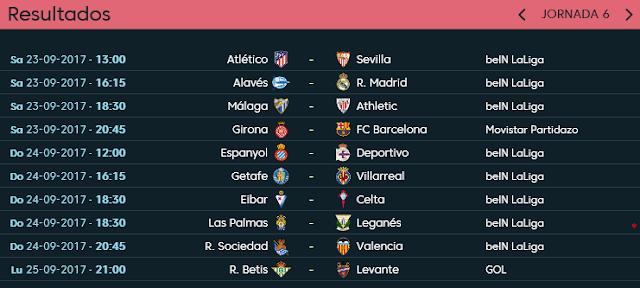 Proxima Jornada 6 1ª División Temporada 2017-18