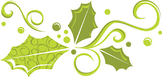 Clipart image of green holly swirls