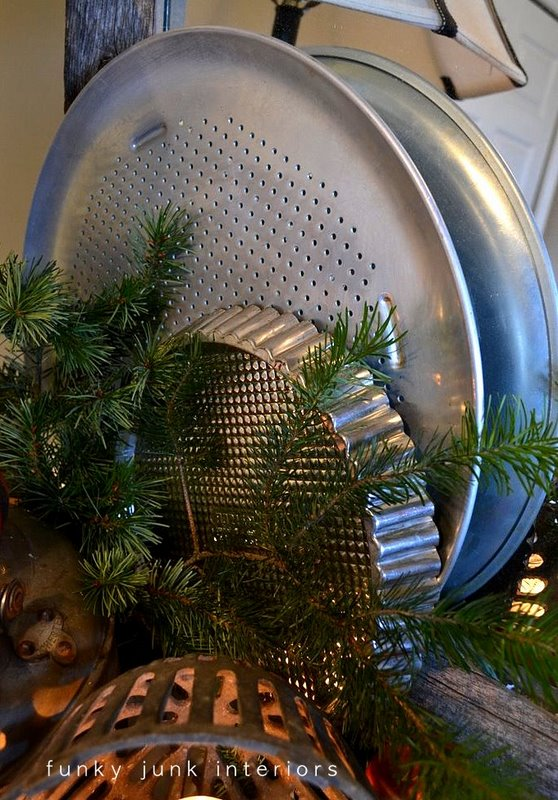Old kettle and drain cover snow covered candle vignette - part of An all natural junk filled 2011 Christmas home tour, via http://www.funkyjunkinteriors.net/